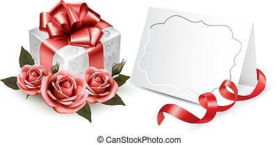 Greeting card with a ribbon, a present and three roses. ...