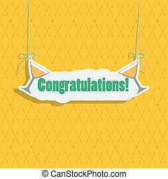 "Greeting card with a signboard ""Congratulations."""