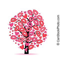 Greeting card with a tree hearts and lips traces