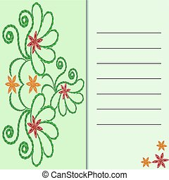 Greeting card with a vegetative ornament, flower