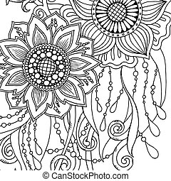 Greeting card with abstract flowers. Page for adult coloring book.
