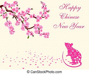 Greeting card. with an inscription. The rat is a symbol of the Chinese New Year 2020. Blooming cherry. Sakura. Vector illustration