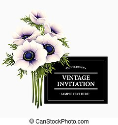 Greeting card with anemone flower. Vector illustration EPS10