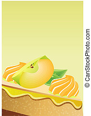 Greeting card with apple pie on yellow background