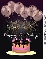 greeting card with balloons and cake. vector