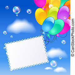 Greeting card with balloons in the blue sky