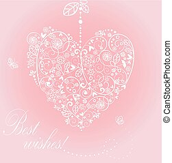 Greeting card with beautiful lacy hanging heart