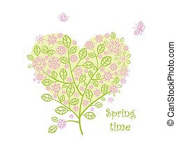 Greeting card with beautiful spring lacy bouquet