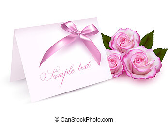 Greeting card with beauty roses and pink bow. Vector...