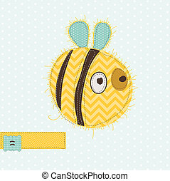 Greeting card with Bee - for scrapbook, invitation, celebration with place for your text