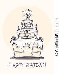 Greeting card with big birthday cake contour drawing. Vector...