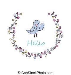 Greeting card with bird.