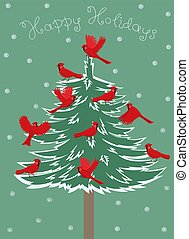 Greeting card with birds red cardinal sitting on the Christmas tree. Vector graphics.