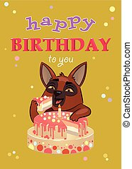 greeting card with birthday. dog eats a big cake. vector