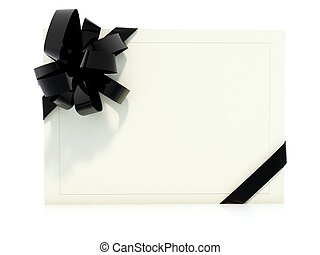Greeting card with black bow isolated on white