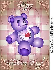Greeting card with blue teddy bear