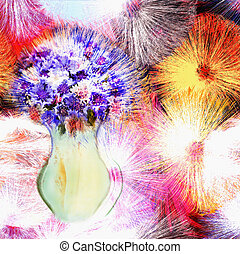 Greeting card with bouquet of stylized blue cornflowers in vase on grunge striped colorful backgroun