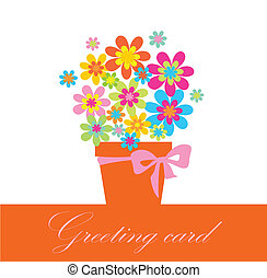 Greeting card with bouquet