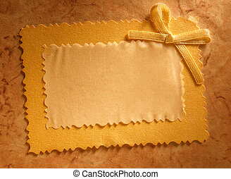 Greeting card with bow on paper background