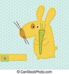 Greeting card with Bunny - for scrapbook, invitation, celebration with place for your text