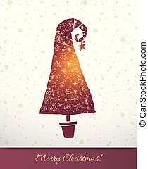 Greeting card with burgundy christmas tree decorated with gold stars on white background with snowflakes