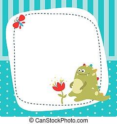 Greeting card with cartoon dinosaur