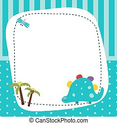 frame with cartoon dinosaur funny card with empty space for text