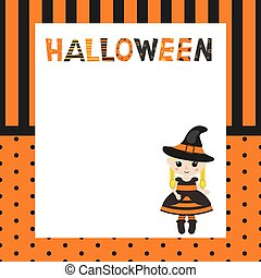 Greeting card with cartoon witch.