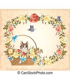 greeting card with cat,  roses and butterfly