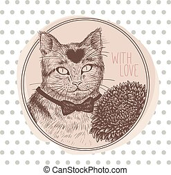 Greeting card with cat. Vector illustration.