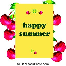 Greeting card with cherry
