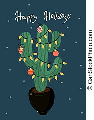 Greeting card with Christmas decorated cacti. eps 10