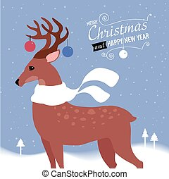 Greeting card with Christmas deer. Vector Illustration