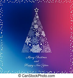 Greeting Card With Christmas Tree.