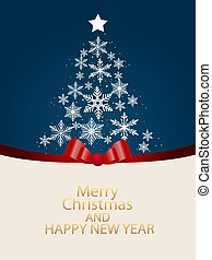 greeting card with christmas tree made of snowflakes