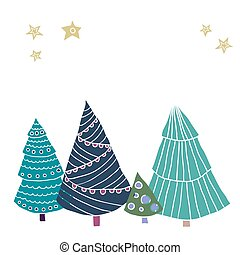 Greeting card with christmas trees in scandinavian style, doodle vector illustration