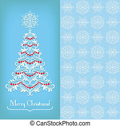 Greeting card with Christmass tree, blue