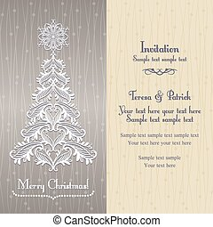Greeting card with Christmass tree, gold