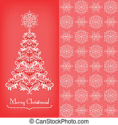 Greeting card with Christmass tree, red