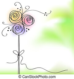 greeting card with color rose flower