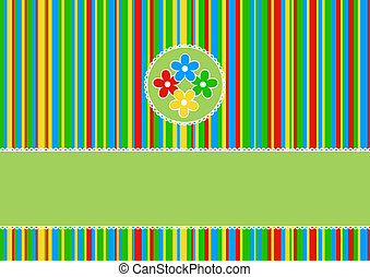 greeting card with colored flowers on a striped background