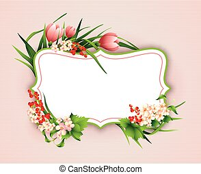 Greeting card with colorful flower background.