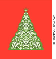 Greeting card with cut out paper decorative snowflakes xmas tree. Template for Christmas cards