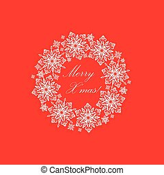Greeting card with cut out paper decorative snowflakes xmas wreath. Template for Christmas cards
