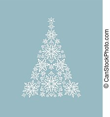 Greeting card with cut out paper decorative xmas snowflakes tree. Template for Christmas cards