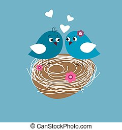 Greeting card with cute birds in love