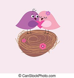 Greeting card with cute birds in the nest
