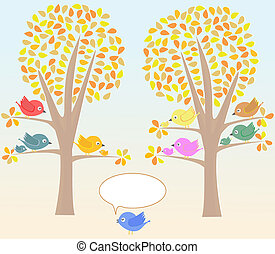 Greeting card with cute birds under