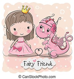 Cute Cartoon fairy tale Princess and Dragon