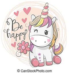 Cute Cartoon Unicorn with flower
